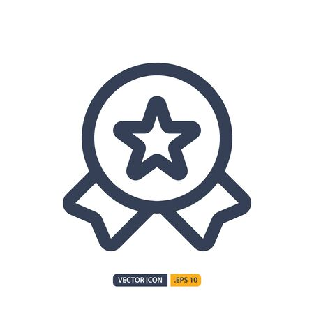 badge icon in Outline style isolated on white background. for your web site design, logo, app, UI. Vector graphics illustration and editable stroke.
