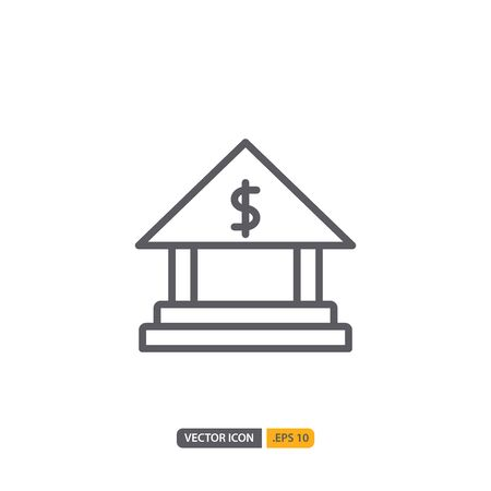 bank icon in isolated on white background. for your web site design, logo, app, UI. Vector graphics illustration and editable stroke. Illustration