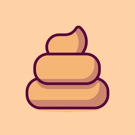 Poop Vector Icon Illustration. Flat Cartoon Style Suitable for Web Landing Page, Banner, Sticker, Background.