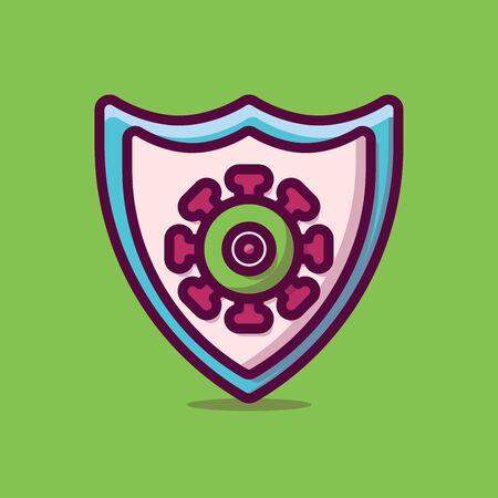 Protection Virus Vector Icon Illustration. Flat Cartoon Style Suitable for Web Landing Page, Banner, Sticker, Background. Ilustração
