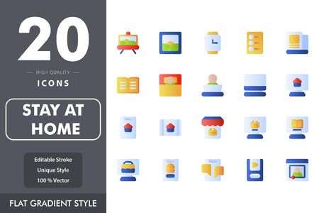 Stay at home icon pack isolated on white background. for your web site design, logo, app, UI. Vector graphics illustration and editable stroke. EPS 10.