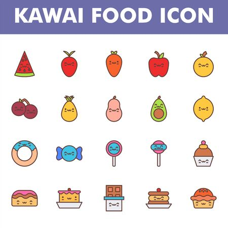Kawai food icon pack isolated on white background. Kawai and cute food illustration. for your web site design, logo, app, UI. Vector graphics illustration and editable stroke. EPS 10.