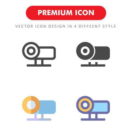 projector icon pack isolated on white background. for your web site design, logo, app, UI. Vector graphics illustration and editable stroke.