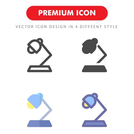 desk lamp icon pack isolated on white background. for your web site design, logo, app, UI. Vector graphics illustration and editable stroke.