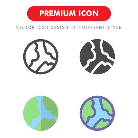 earth icon pack isolated on white background. for your web site design, logo, app, UI. Vector graphics illustration and editable stroke.
