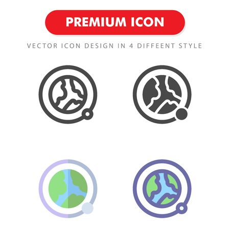 orbit moon icon pack isolated on white background. for your web site design, logo, app, UI. Vector graphics illustration and editable stroke.