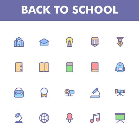 Education icon pack isolated on white background. for your web site design, logo, app, UI. Vector graphics illustration and editable stroke.