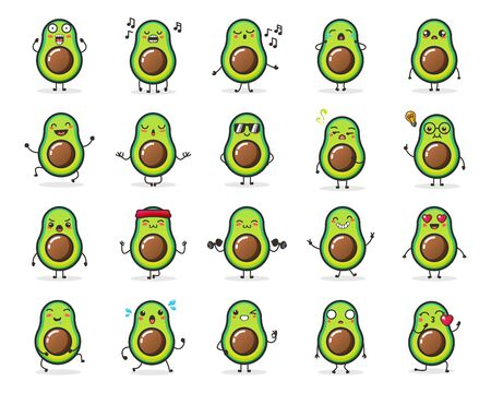 Set of cute Avocado fruit character in different action emotion for illustration or mascot.
