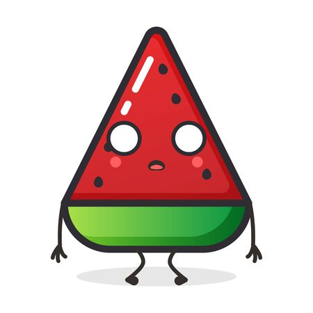 Cute Watermelon fruit character for illustration or mascot. Vettoriali