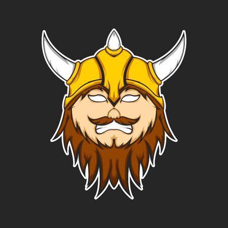 Viking warrior head cartoon vector illustration design.