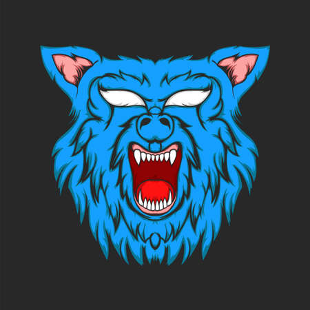Angry wolf Head vector for design elements
