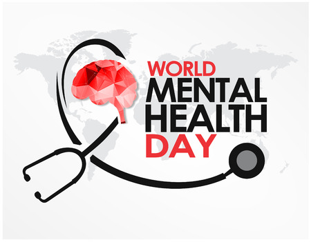 World mental health Day Design Template Vector. Suitable for Greeting Card, Poster and Banner Day with nice and creative design illustration beautiful abstract world brain mental  healthy concept