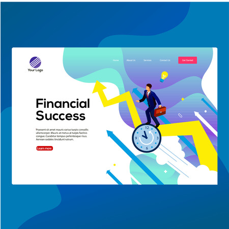 modern design Financial success. time is experience concept with characters. Can use for web banner, landing page, media app, infographics, hero images. Flat isometric illustration isolated