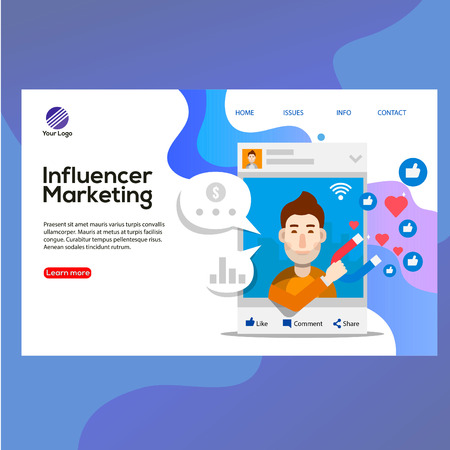 modern design template concept with Influencers marketing word concept people, phone, like icon vector illustration, can use for, landing page, template, ui, web, mobile app, poster, banner, flyer