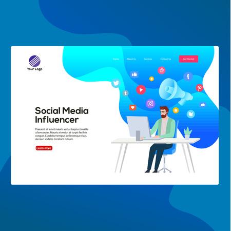 Concept de modèle de conception moderne avec illustration vectorielle d'influenceur de médias sociaux professionnels. À utiliser pour la page de destination, l'application multimédia, le modèle, l'interface utilisateur, le Web, l'application mobile, l'affiche, la bannière, le dépliant.