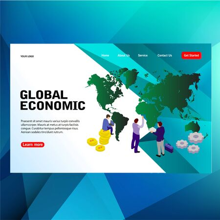 modern futuristic template concept people, large map with globe economic business word vector illustration concept, can use for, landing page, template, ui, web, mobile app, poster, banner, flyer Illustration