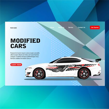 modern futuristic template concept sticker decal race contest car with modified car vector illustration concept, can use for, landing page, template, ui, web, mobile app, poster, banner, flyer  イラスト・ベクター素材