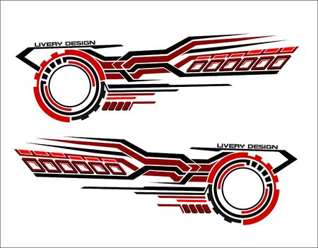 Vinyls sticker set Decals for Car truck mini bus modify Motorcycle. Racing Vehicle Graphics kit isolated vector design race Elegant stripes modern theme technology background for wrap Vinyls sticker set Decals for Car truck mini bus modify Motorcycle. Racing Vehicle Graphics kit isolated vector design race Elegant stripes modern theme technology background for wrap Illustration