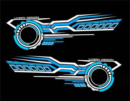 Ensemble d'autocollants de vinyles pour mini-bus de camion de voiture modifier la moto. Kit graphique de véhicule de course course de conception vectorielle isolée Rayures élégantes fond de technologie de thème moderne pour l'emballage