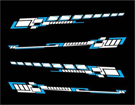 Juego de pegatinas de vinilos Calcomanías para coche, camión, minibús, modificación de motocicleta. Kit de gráficos de vehículos de carreras, diseño vectorial aislado carrera, rayas elegantes, fondo de tecnología de tema moderno para envolver