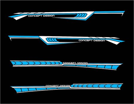 Vinyls sticker set Decals for Car truck mini bus modify Motorcycle. Racing Vehicle Graphics kit isolated vector design race Elegant stripes modern theme technology background for wrap Illustration