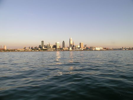 Cleveland Skyline from Lake Erie view at sunset. Stock Photo - 4452103