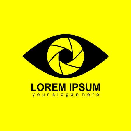 eye logo with camera lens design vector