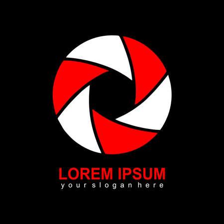 minimalist logo lens camera design vector