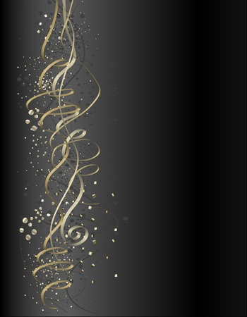 vector illustration of elegant golden ribbons and three types of glitters. Illustration
