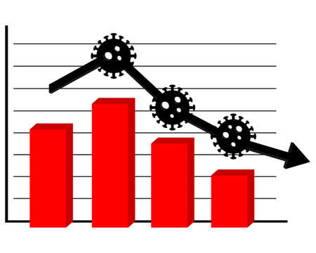 Economy graph chart down. Corona or covid-19 virus global economic impacts. Illustration vector