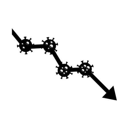 Economy graph chart down. Corona or covid-19 virus global economic impacts. Symbol. Illustration vector