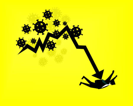 COVID-19 corona virus impact to businessman. Financial crisis. Businessman leader getting bar graph falling in economic collapse. Illustration vector Illusztráció