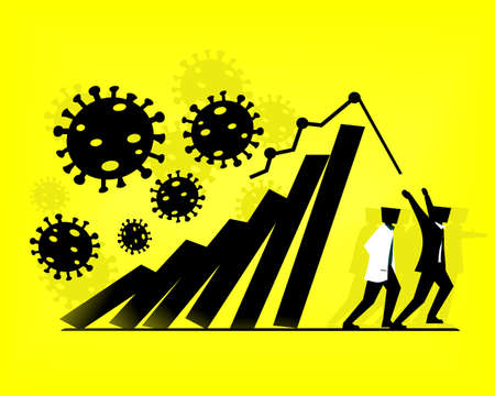 People run to avoid the falling chart. Economy collapse. Running away from collapsing fall down bar graph from coronavirus outbreak. Illustration vector Ilustrace