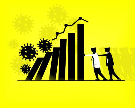 Coronavirus outbreak affect economy business. Manages financial. Profit decreases concept. Economic crisis due to covid-19. Illustration Vector