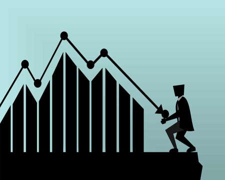 Business man loss bar graph going down. Business. Manages financial. Profit decreases concept. Flat Design. Illustration vector