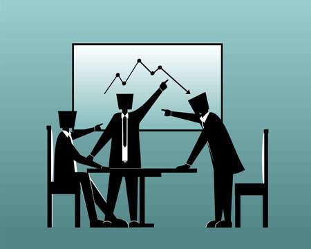 Business man loss bar graph going down. Business strategy. Teamwork. Manages financial. Profit decreases concept. Flat Design. Illustration vector Ilustrace