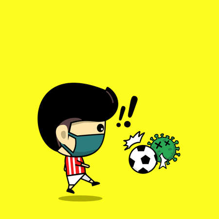 Cute character kick the ball to the virus. Football player design against virus. Soccer character. Vector
