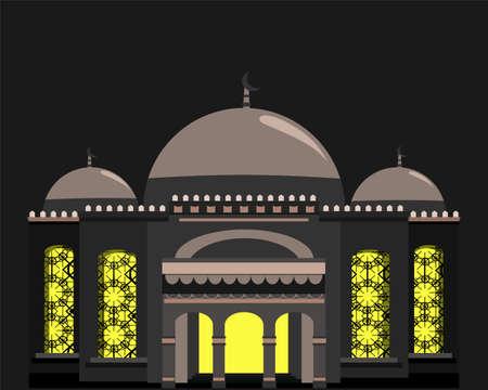 Mosque. Muslim traditional architecture house building islam religious design flat. Ramadan kareem mosque. Symbol. vector