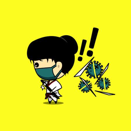 Samurai. Cute character design cut the virus using katana. Samurai against virus. Vector