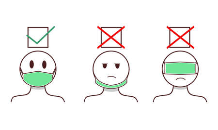 How to wearing protective mask correctly. Prevent the spread of the Covid-19 disease. Illustration vector