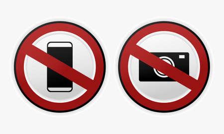 No phone sign.No talking and calling. No camera and photography. sign. Do not shoot sign. Illustration vector