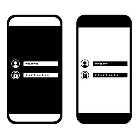 Password security access on mobile icon. Verification code. Username and password. Authentication login from system. Illustration vector Ilustración de vector