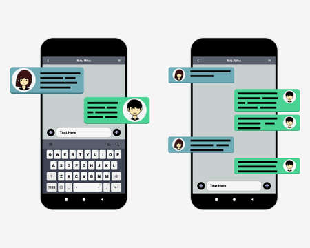 Smart phones chatting sms template. Bubbles messages chat with a character profile picture. Illustration vector Ilustración de vector