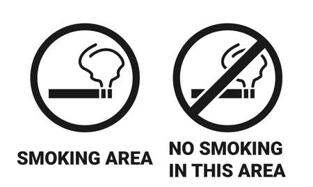 Smoking area sign and no smoking in this area sign. Illustration vector
