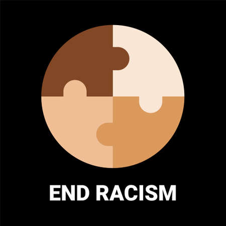 End racism circle puzzle. Unite to end racism. All colors are beautiful. Illustration vector