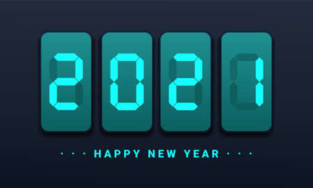 Happy new year 2021 design. New year holiday celebration. Eelegant design of blue colored 2021 number digital time. Illustration vector
