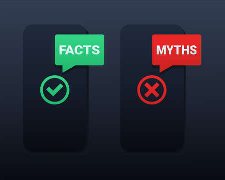 Facts vs myths bubble notification icon sign. True or false facts with cross and checkmark. Illustration vector