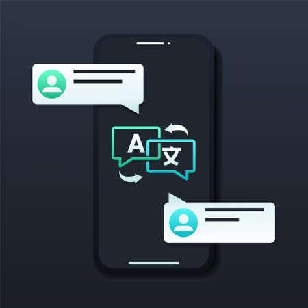 Translate on screen phone. Two chat speech message bubbles with language translation. Multilingual online talking, speak, conversation, dialog concept. Illustration vector Vektorgrafik
