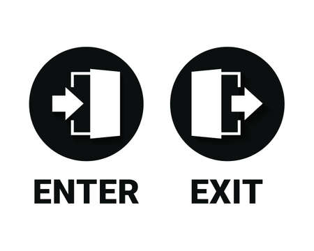 Enter and exit icon. Doorway entrance exit sign. Illustration vector Vecteurs