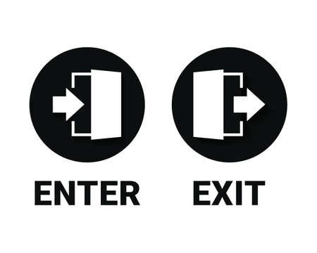 Enter and exit icon. Doorway entrance exit sign. Illustration vector Vetores